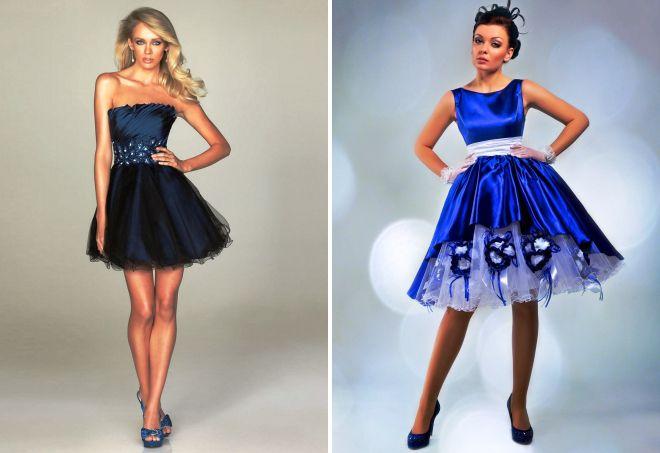 Вечернее платье короткое синее платье