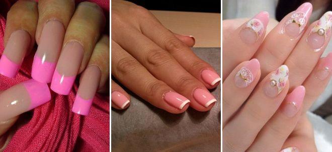 Френч ярко-розовый на ногтях фото