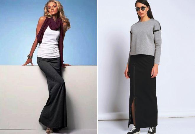 Прямая длинная трикотажная юбка