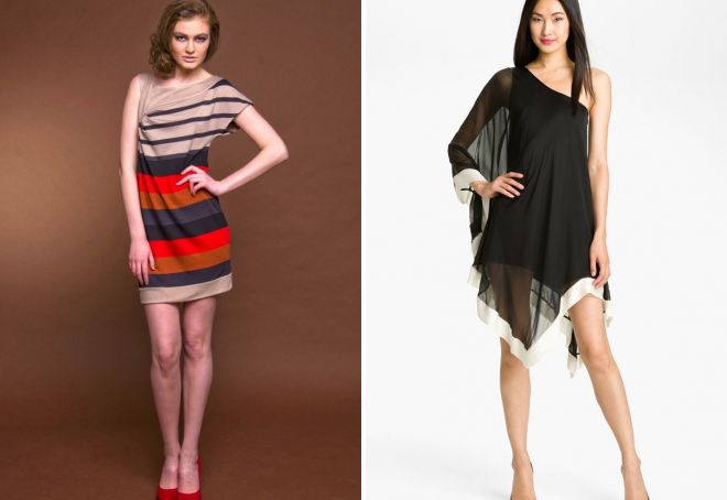 Платье силуэт асимметричный