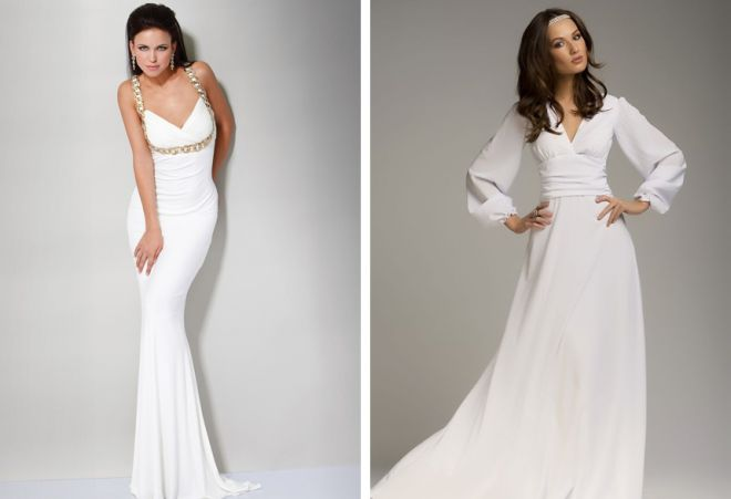 Длинное белое платье закрытое