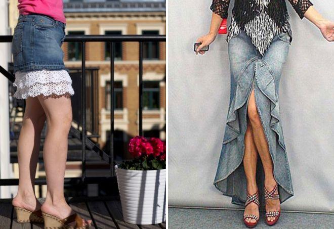 Юбка из джинсов с оборками