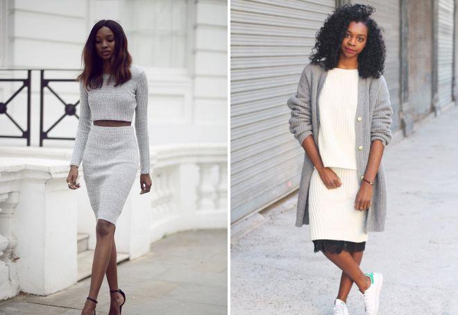 Вязаные пиджак и юбка