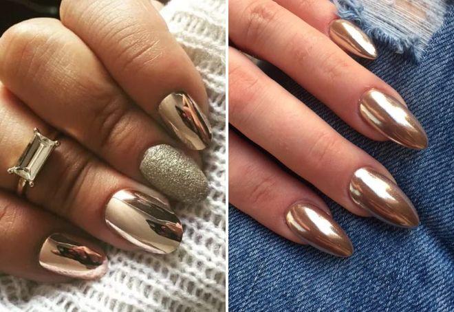 золотая втирка на ногтях