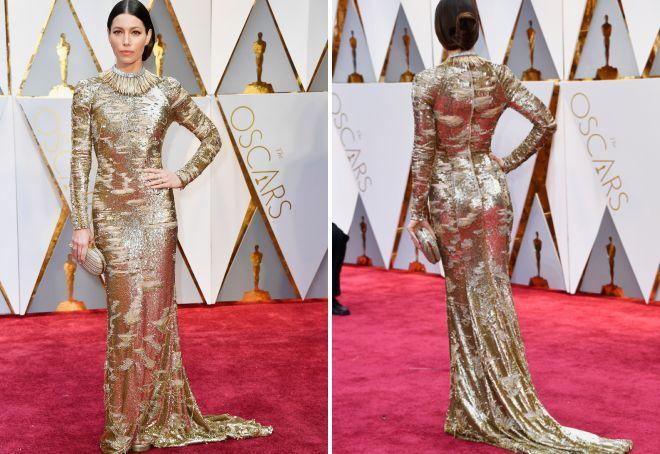 Блестящее платье Джессики Билл на Оскаре 2017