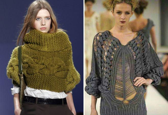 Вязаные стильные женские свитера