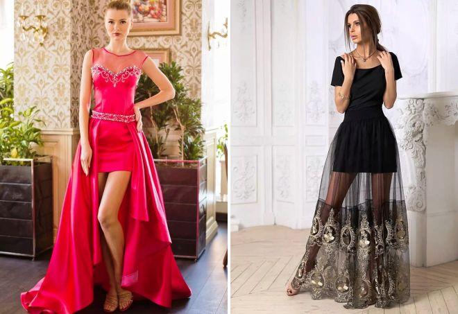 Платье длинное с отстегивающейся юбкой