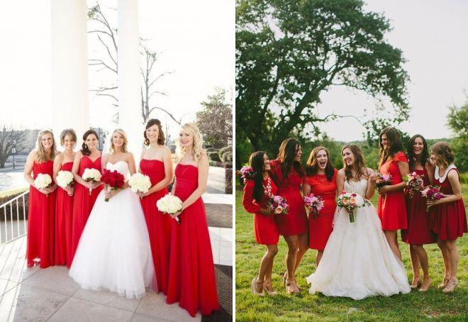 красные платья на свадьбу для подружки невесты