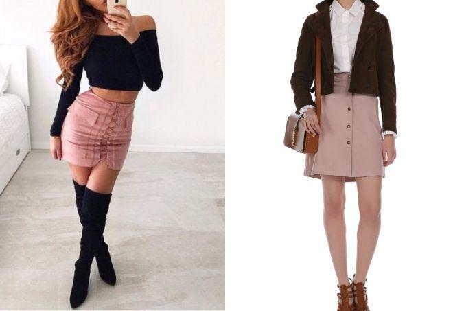 С чем носить розовую мини юбку