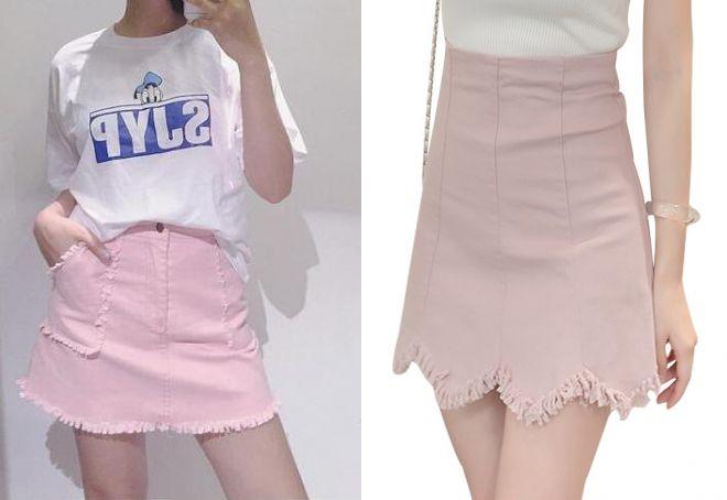 короткая розовая джинсовая юбка