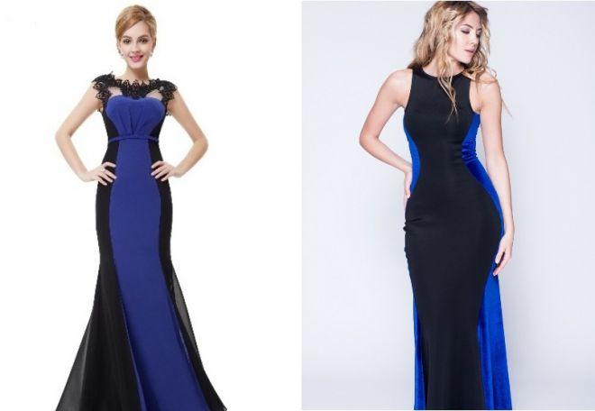 Сине-чёрное платье в пол