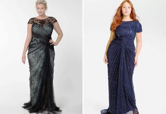 вечерние платья для полных в пол