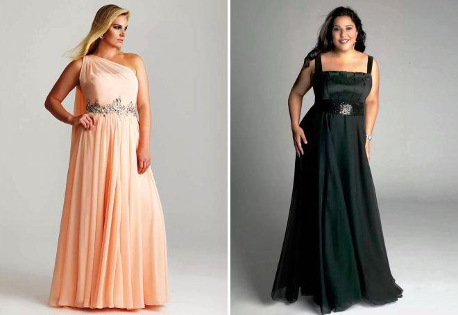 вечернее платье в пол для полных женщин