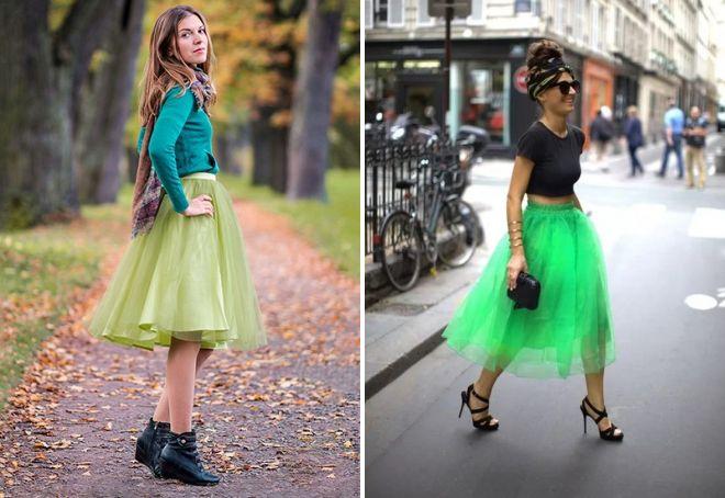 Зеленая юбка чулки