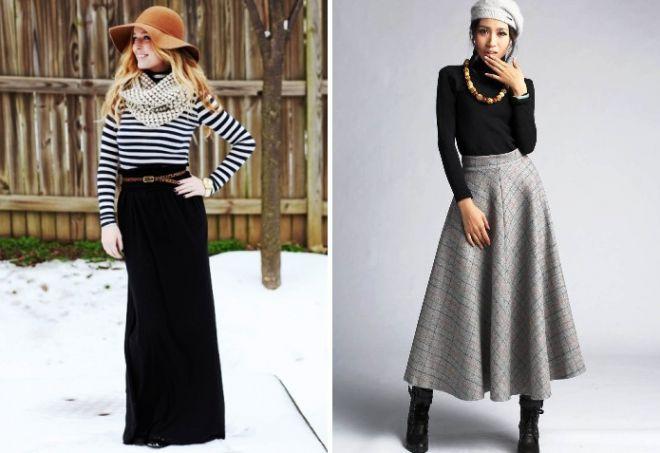 Теплые зимние юбки длинные