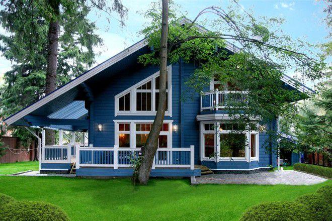 10 дачный дом из бруса с верандой