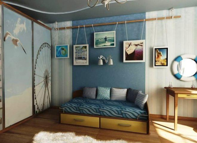 Голубой цвет обоев, стен в интерьере, сочетания голубого в интерьере