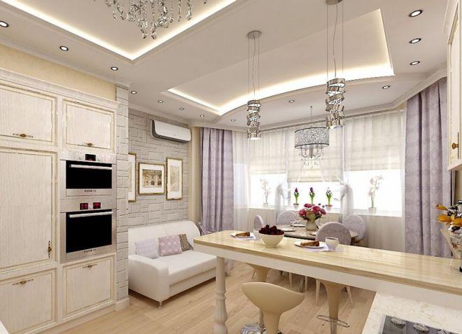 Дизайн кухня гостиная с эркером