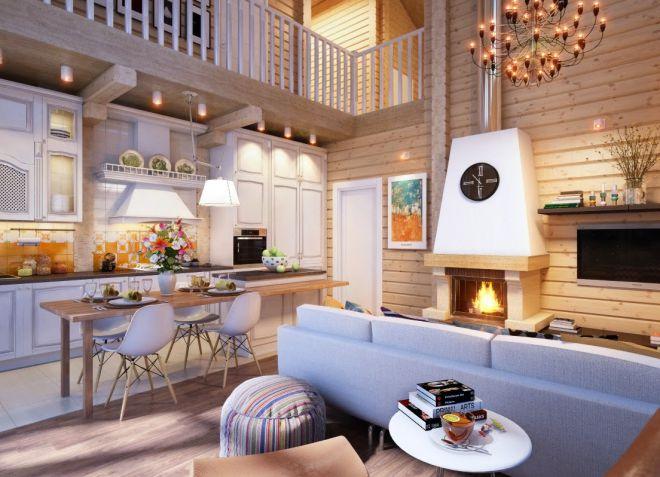 Кухня-гостиная дизайн в деревянном доме фото
