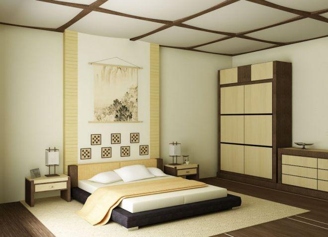 Japanse stijl in het interieur van het appartement
