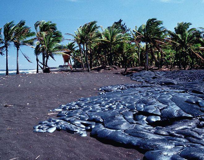 черные пляжи килауэа