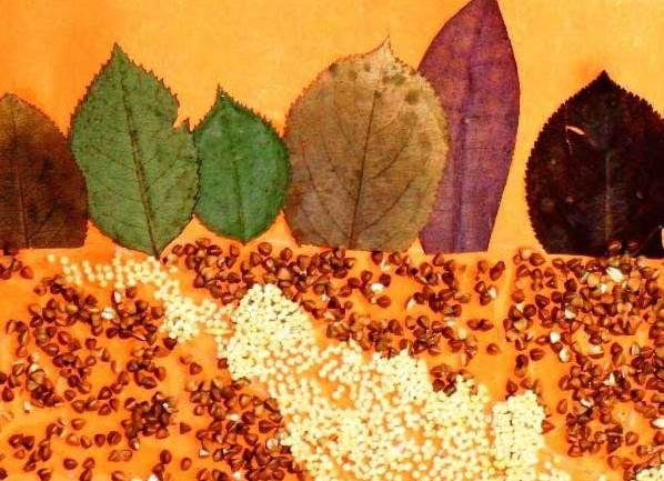 Осенние поделки из круп для детского сада12