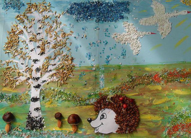 Осенние поделки из круп для детского сада2