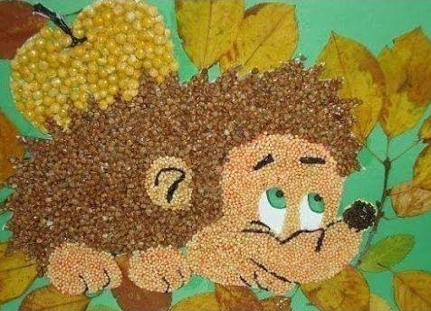 Осенние поделки из круп для детского сада6