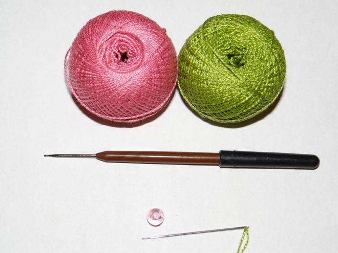 вязание крючком цветы розы и листья 1