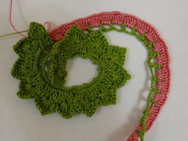 вязание крючком цветы розы и листья 8