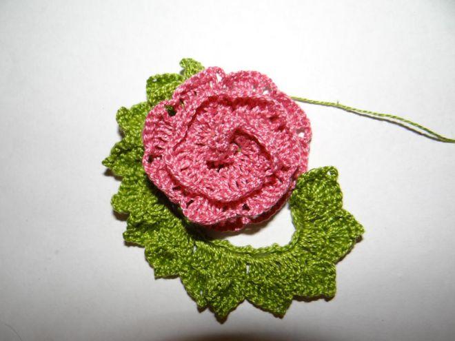 вязание крючком цветы розы и листья 11