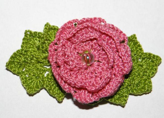 вязание крючком цветы розы и листья 12