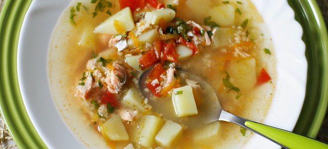суп из красной рыбы с пшеном