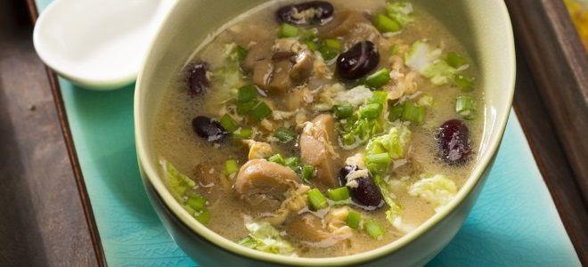 Фасолевый суп с грибами постный