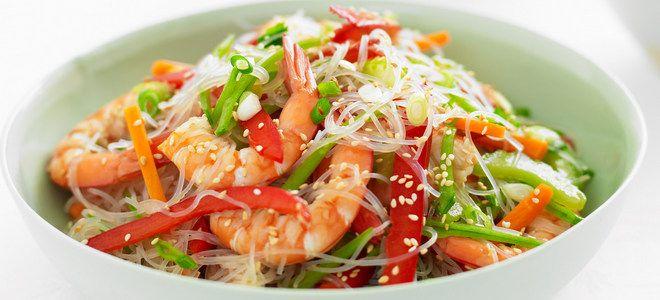 фунчоза с креветками и овощами рецепт