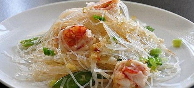 фунчоза с креветками по тайски