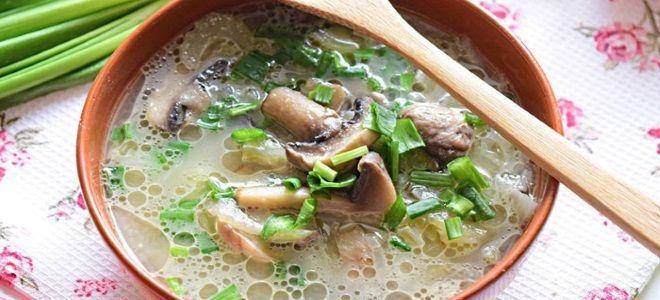 грибной суп из консервированных шампиньонов