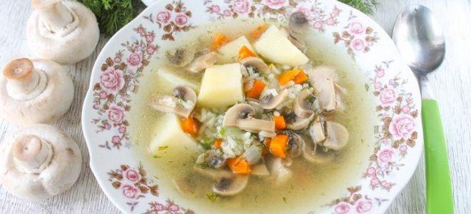 грибной суп с рисом и картошкой