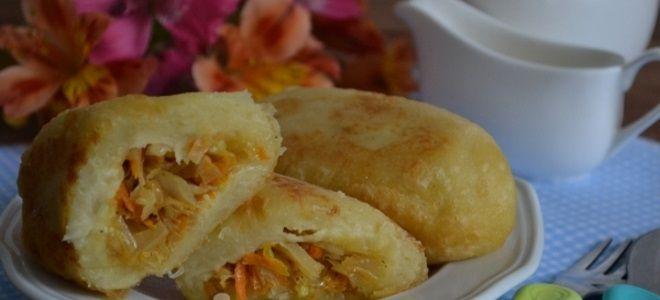 картофельные пирожки с капустой на сковороде постные