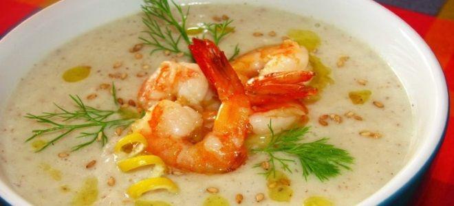 крем суп с креветками и сливками