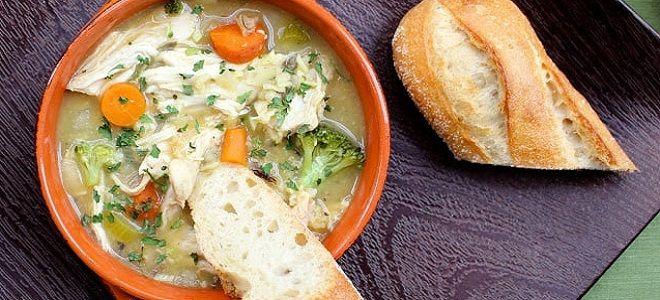 Куриный суп с овощами и рисом