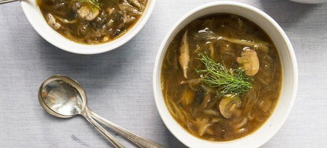 Постный грибной суп из замороженных грибов