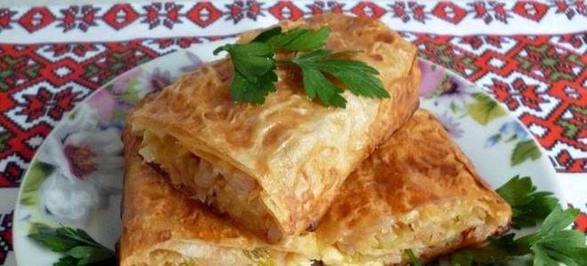 постный пирог из лаваша с капустой