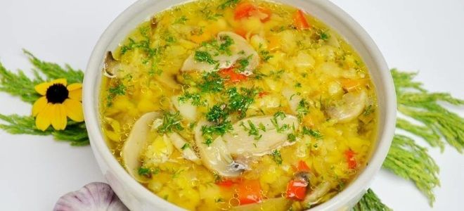 Постный суп с горохом и грибами