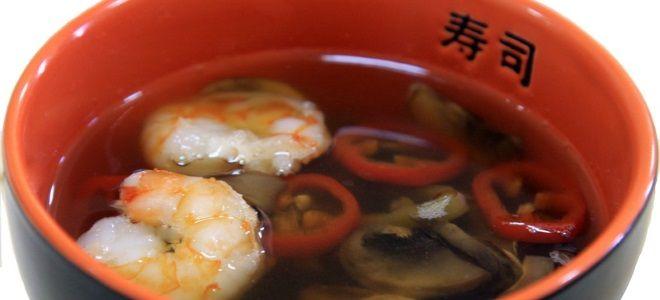 Постный суп с креветками