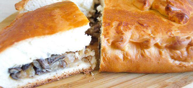 рецепт постного пирога с капустой и грибами