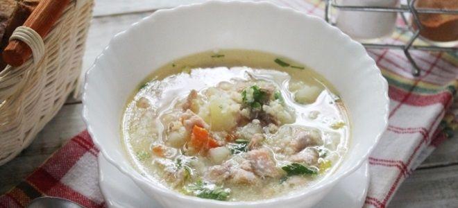 рыбный суп из горбуши с пшеном