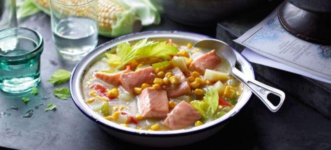 рыбный суп с сельдереем и красной рыбой