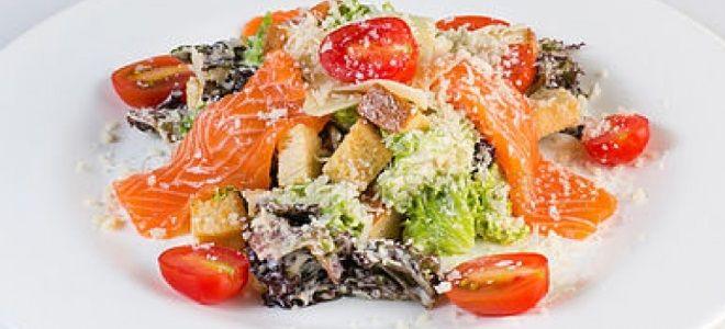 салат цезарь с рыбой красной соленой рецепт