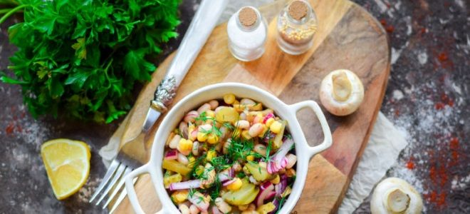 салат постный с консервированной фасолью